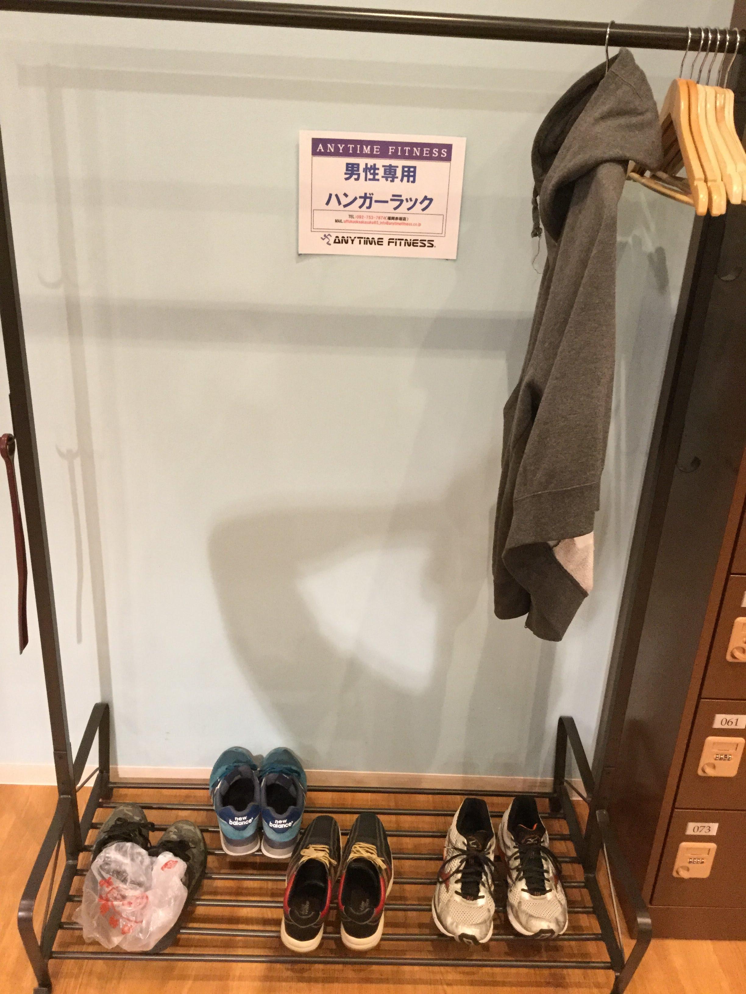 エニタイム 福岡赤坂 ハンガー掛け