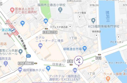 エニタイムフィットネス 渡辺通 地図
