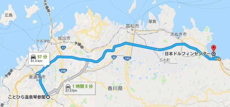 琴参閣から日本ドルフィンセンターまで